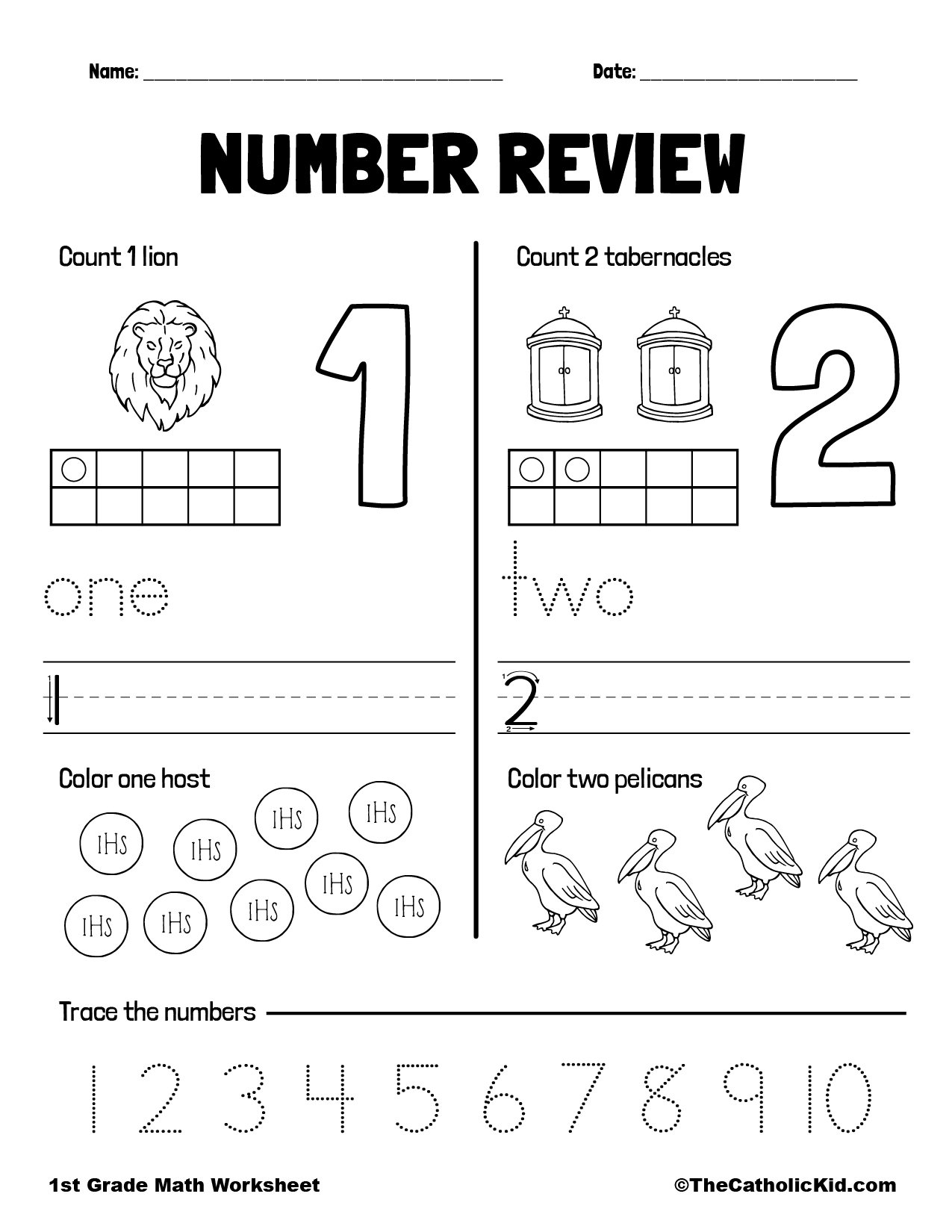 Counting Review Numbers 1 and 2 - 1st Grade Math Worksheet Catholic