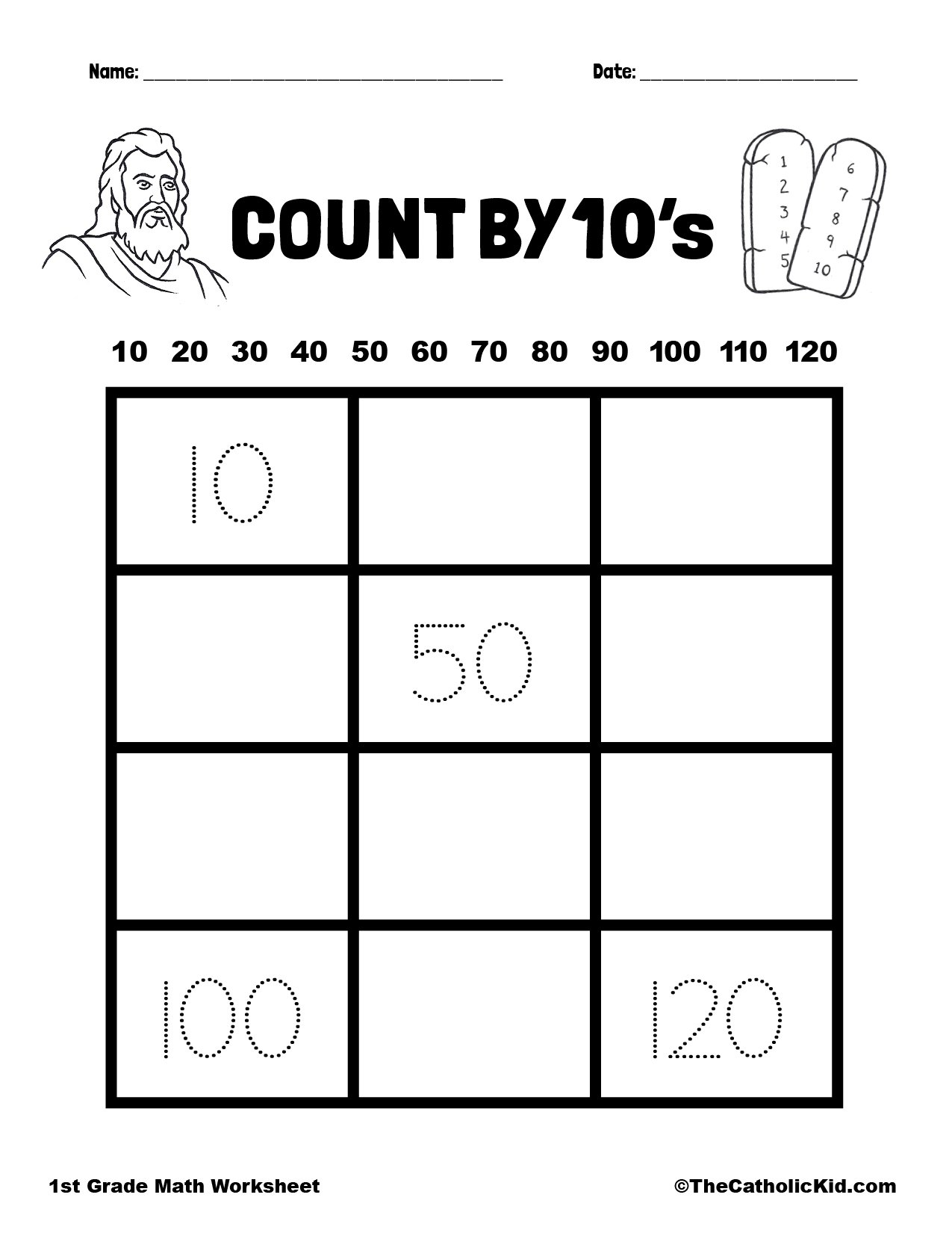 Count by 10's - 1st Grade Math Catholic Worksheet