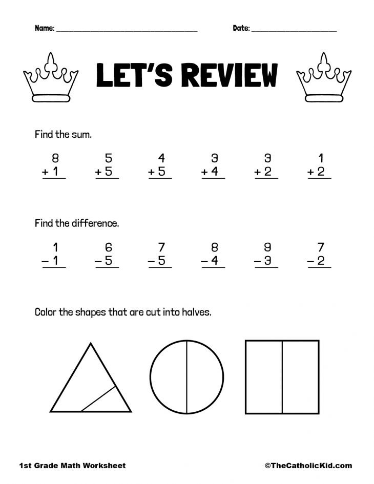Review Fractions, Addition & Subtraction - 1st Grade Math Worksheet Catholic