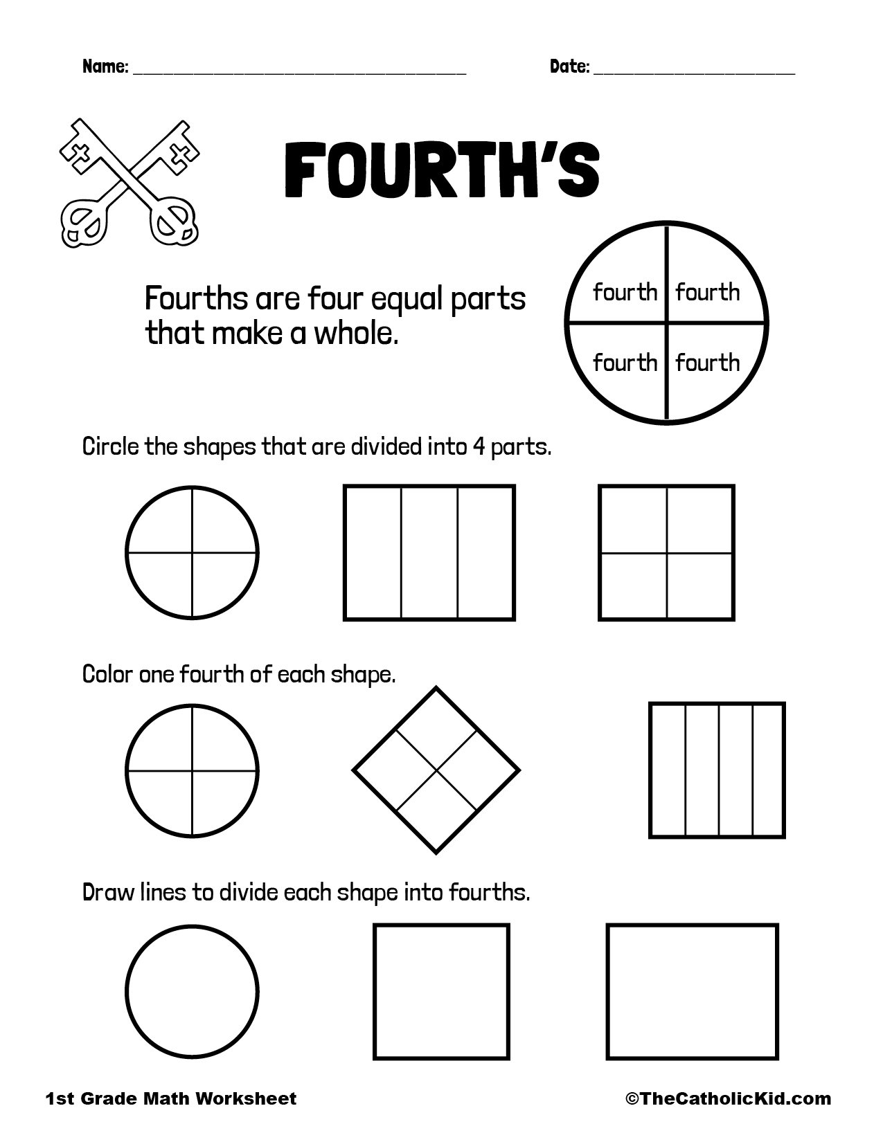 Fractions - Fourths - Quarters - 1st Grade Math Worksheet Catholic