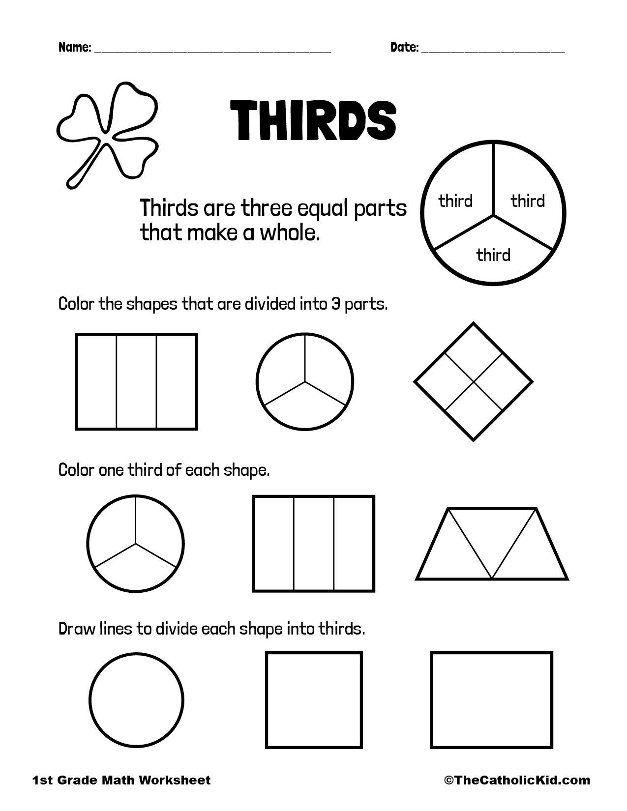 1st Grade Math Catholic Themed Worksheet Fractions Thirds