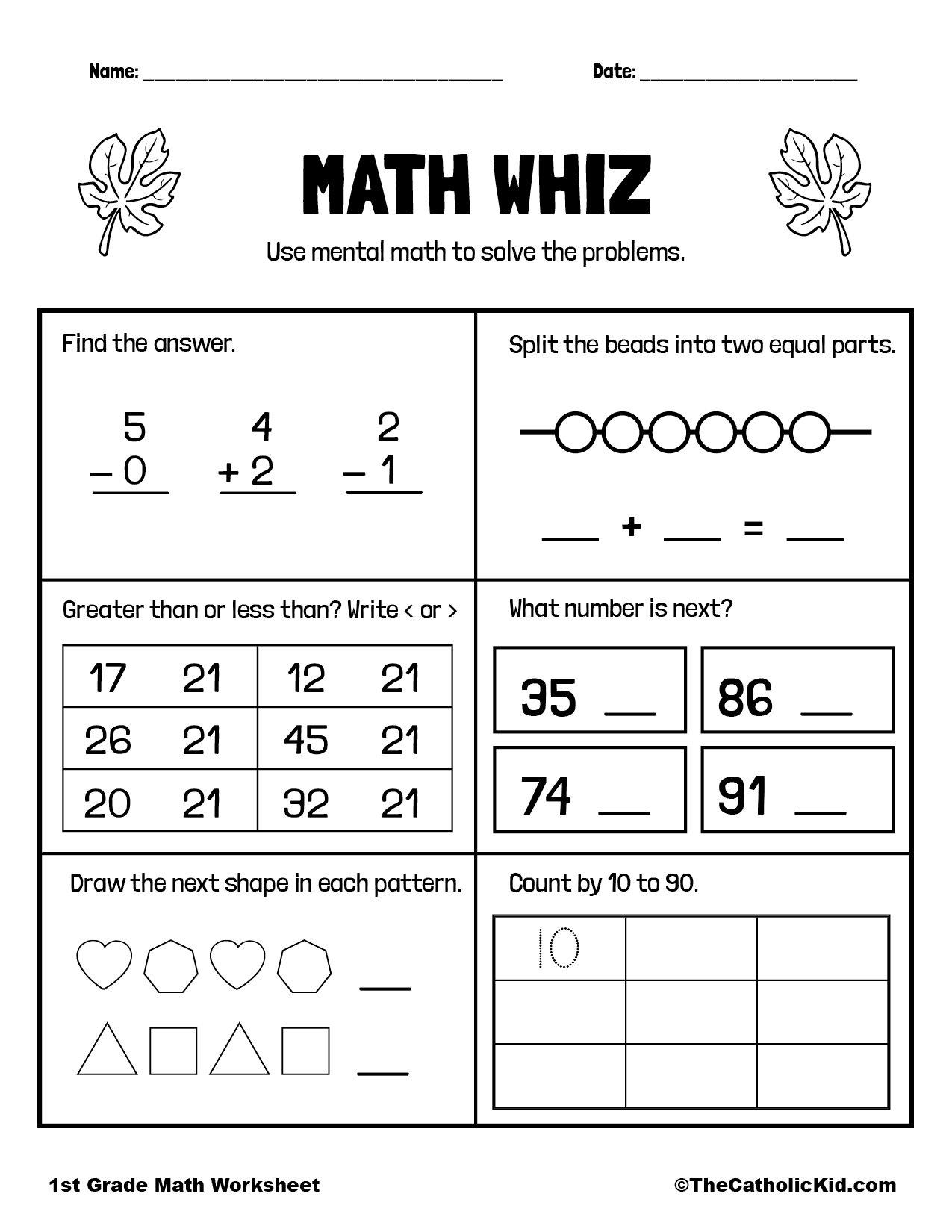 Math Review Page - 1st Grade Math Worksheet Catholic