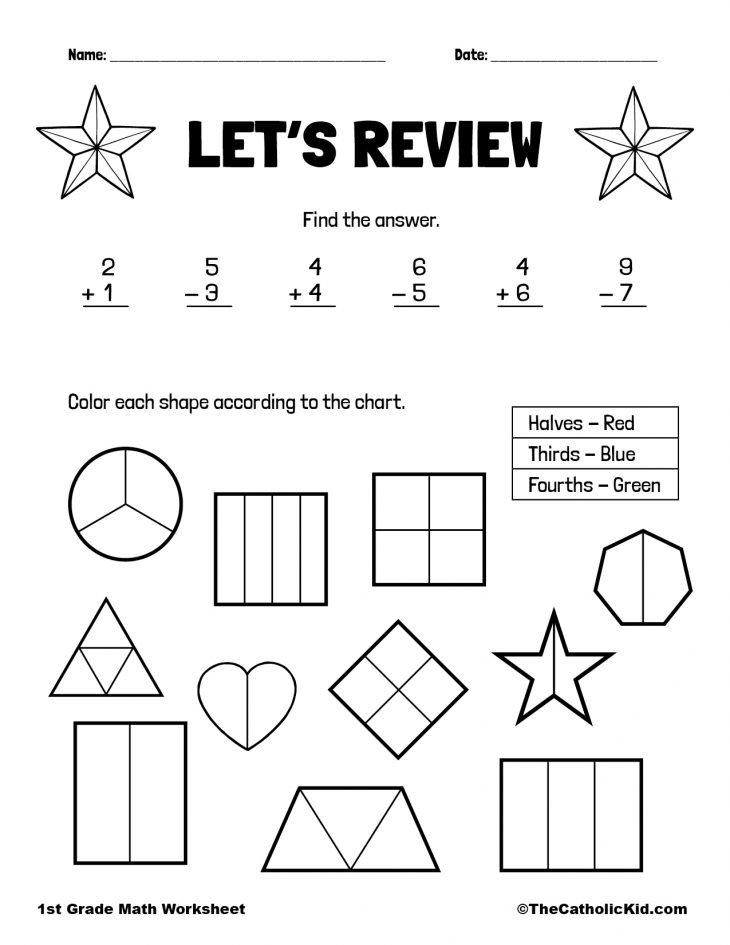 Add, Subtract & Fractions - 1st Grade Math Worksheet Catholic