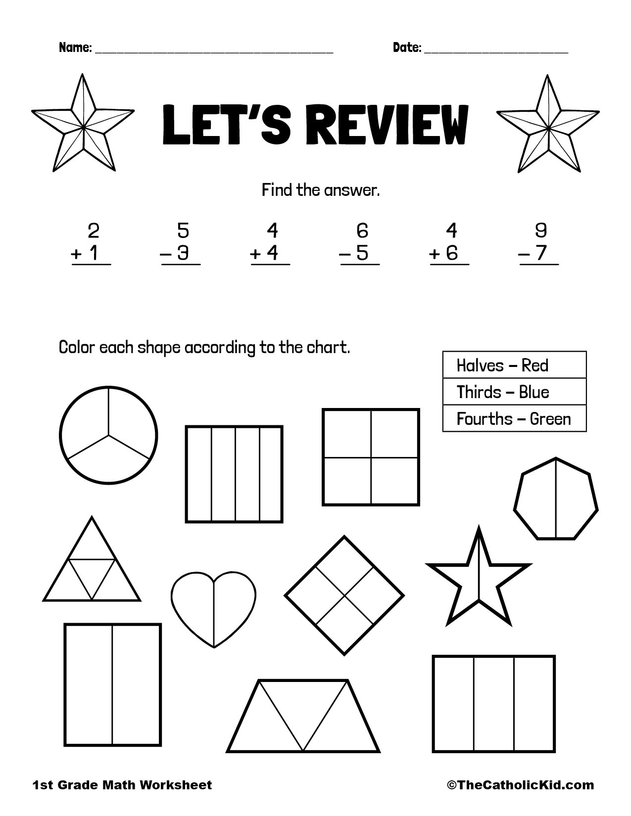 Add, Subtract & Fractions - 1st Grade Math Worksheet Catholic