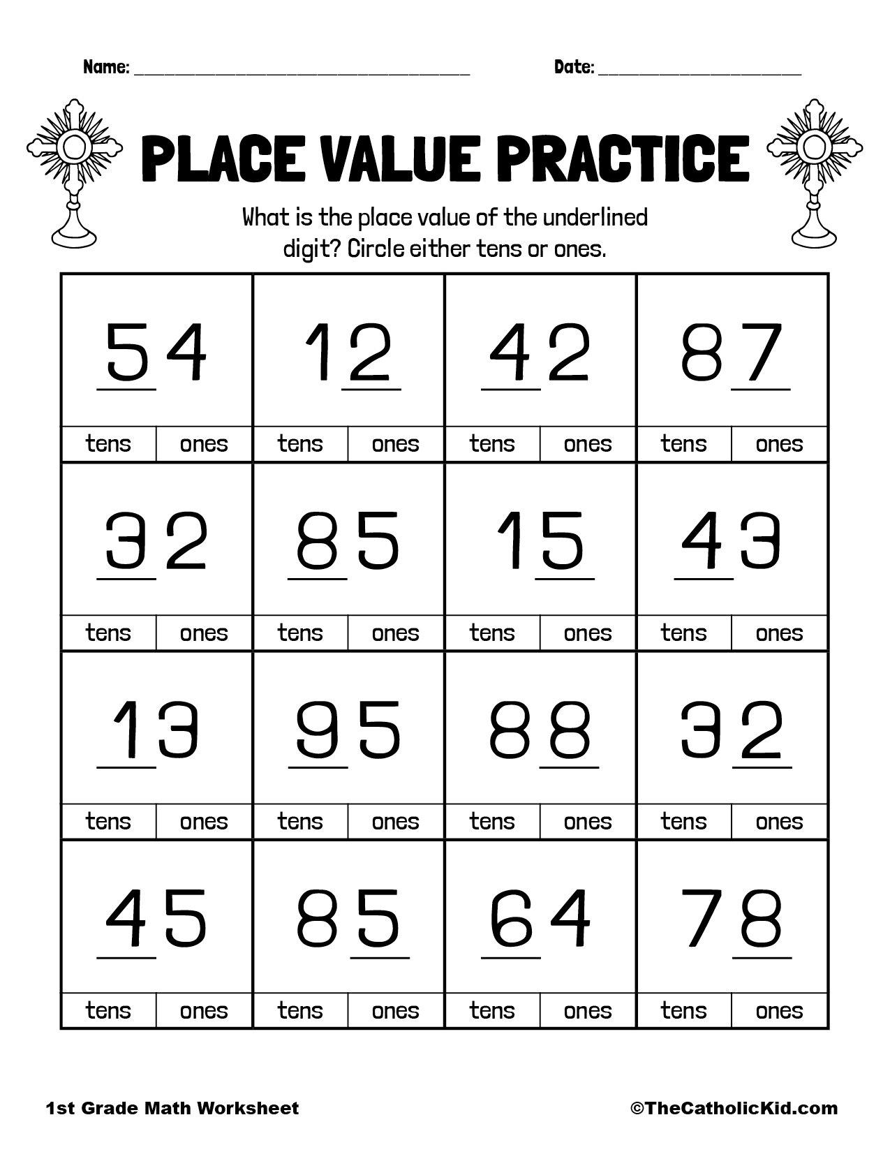 Number Place Values - 1st Grade Math Worksheet Catholic
