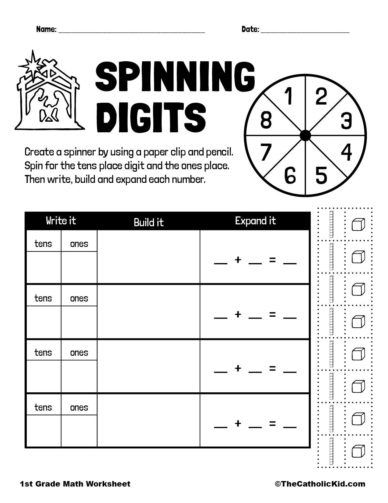 1st Grade Math Catholic Themed Worksheet Digits