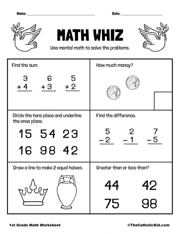 1st Grade Math Catholic Themed Worksheet Mental Review