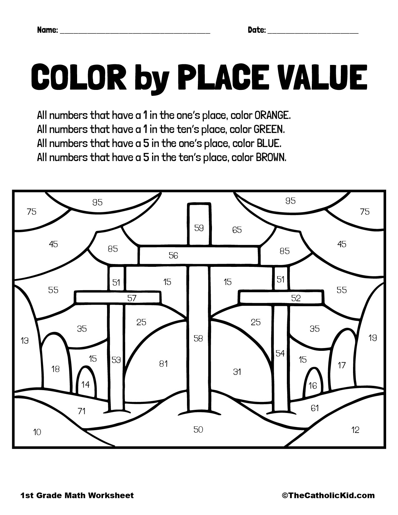 1st Grade Math Catholic Themed Worksheet Place Value