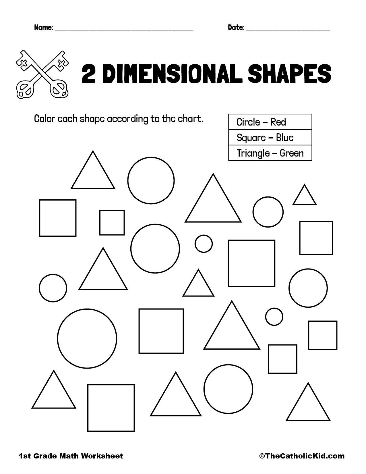 1st Grade Math Catholic Themed Worksheet Shapes