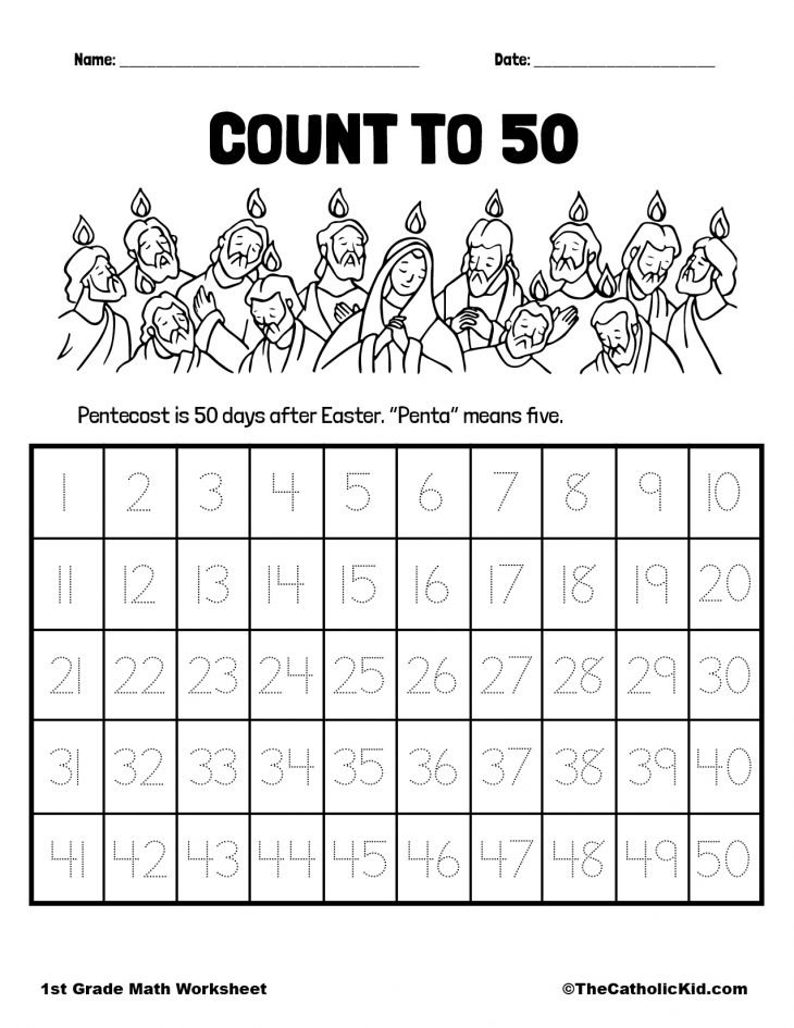 Count to Fifty - 1st Grade Math Worksheet Catholic