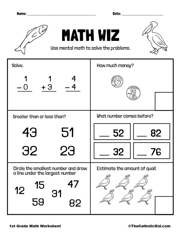 1st Grade Math Catholic Themed Worksheet Mental Math Review