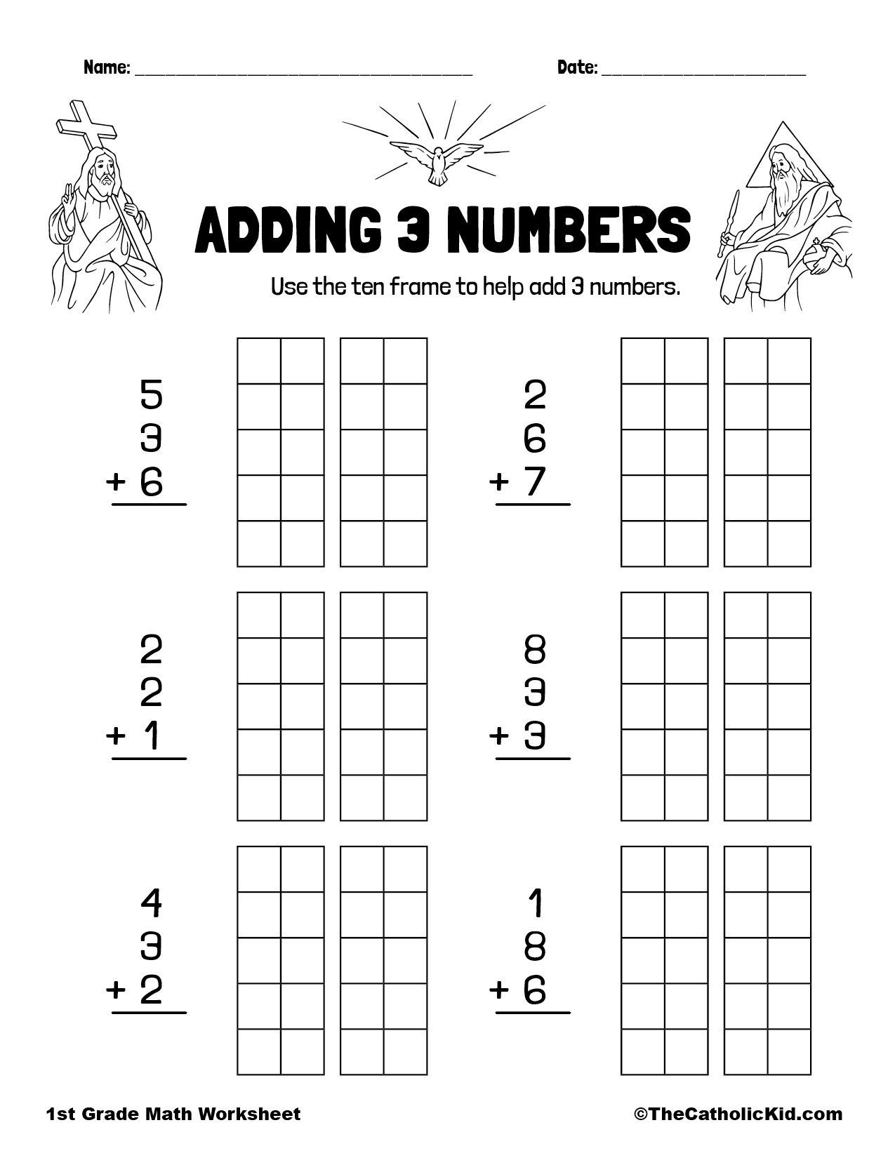 1st Grade Math Catholic Themed Worksheet Adding 3 Numbers