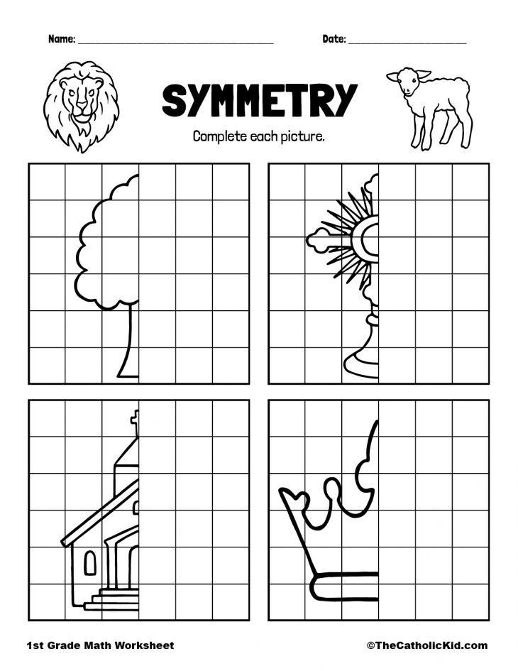 1st Grade Math Catholic Themed Worksheet Symmetry