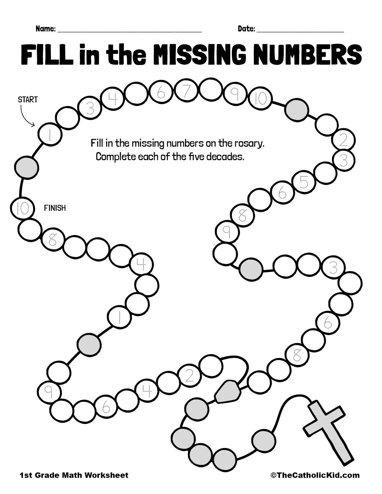 1st Grade Math Catholic Themed Worksheet Missing Numbers