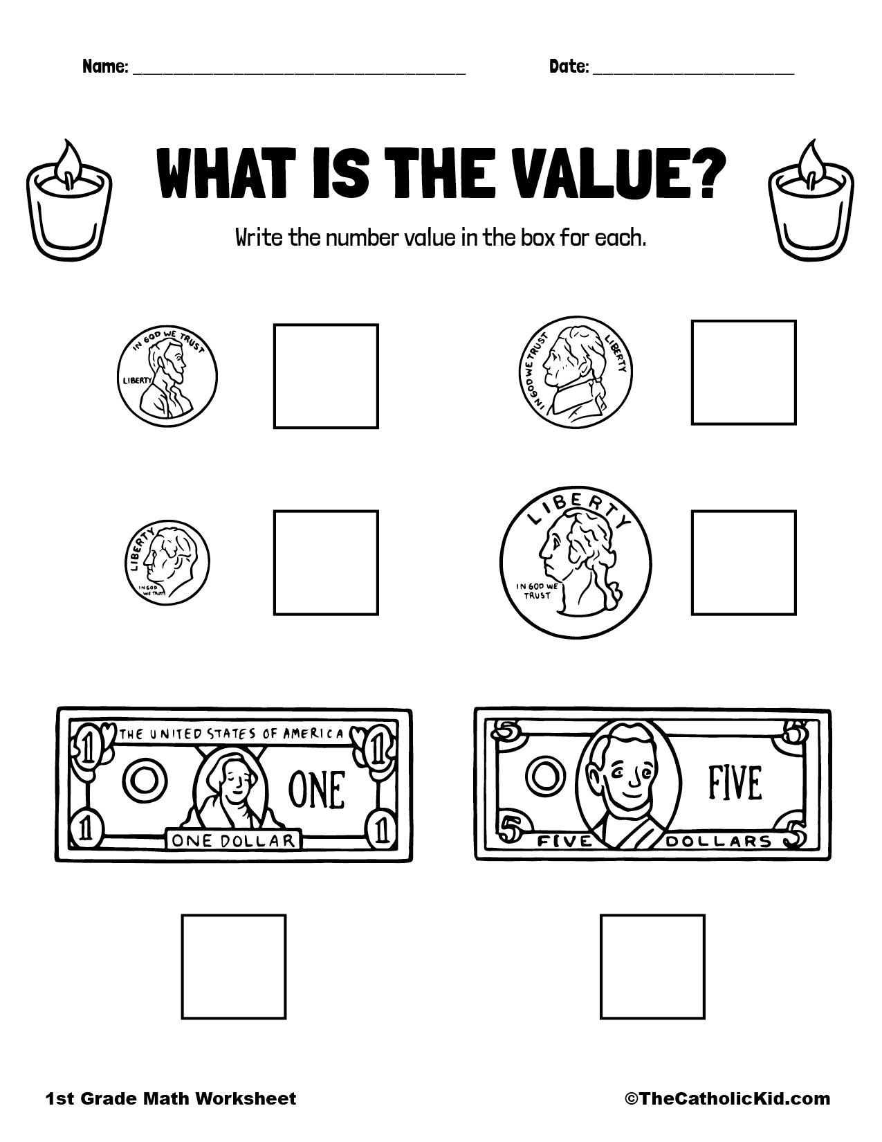 1st Grade Math Catholic Themed Worksheet Money Value