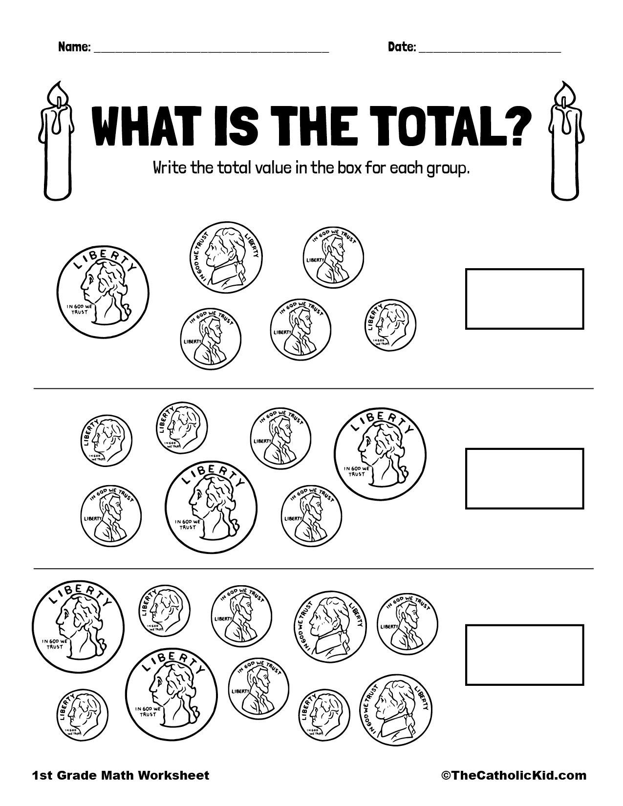 1st Grade Math Catholic Themed Worksheet Money Totals