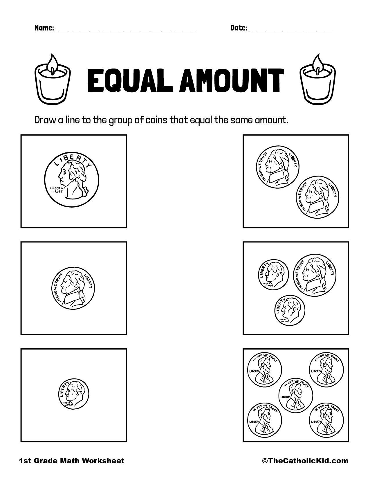 1st Grade Math Catholic Themed Worksheet Money