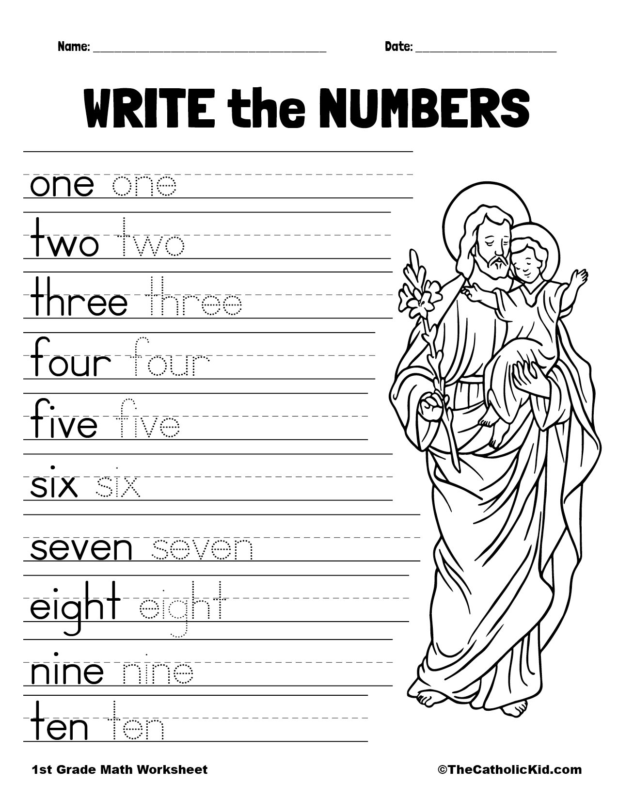 Write the Numbers - 1st Grade Math Worksheet Catholic