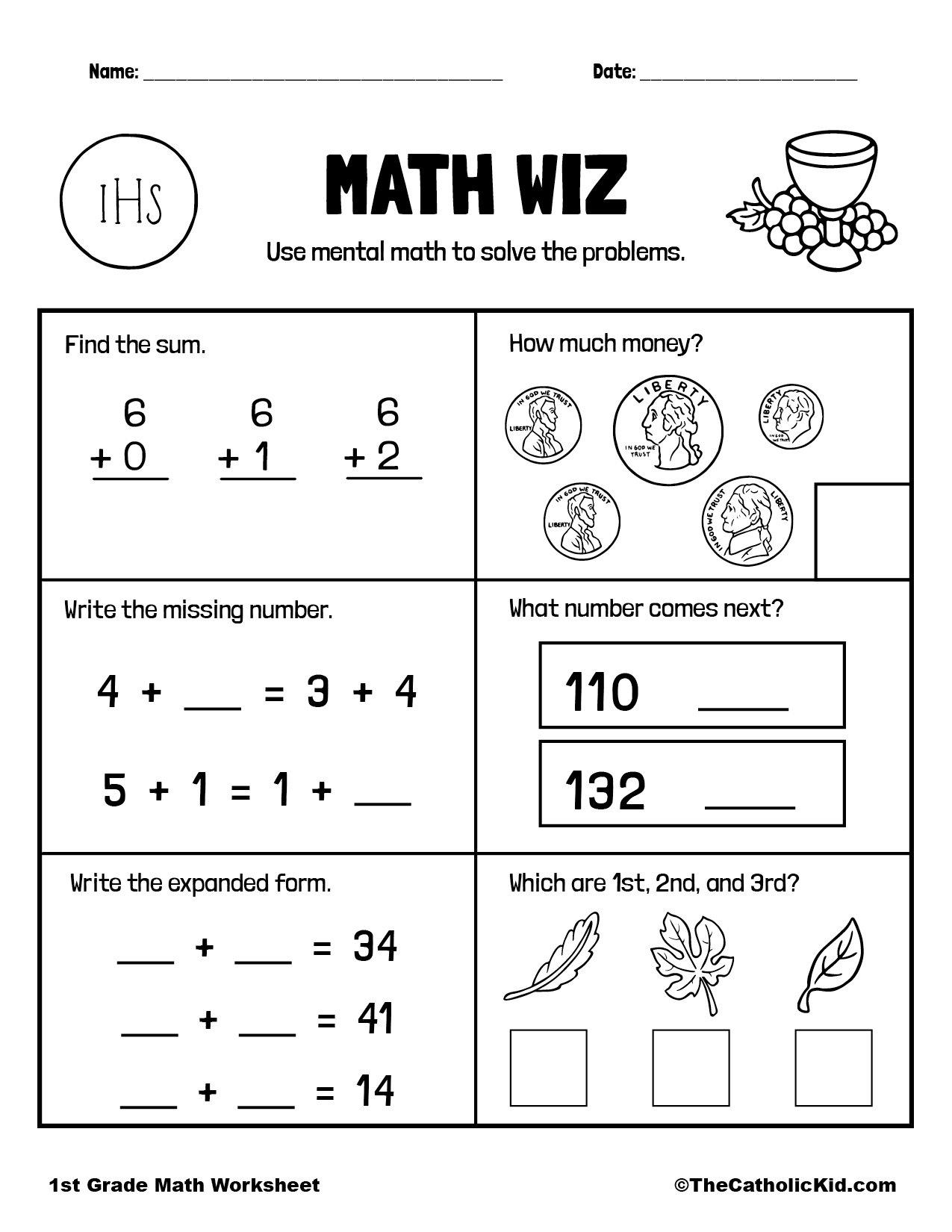 1st Grade Math Catholic Themed Worksheet Mental Math