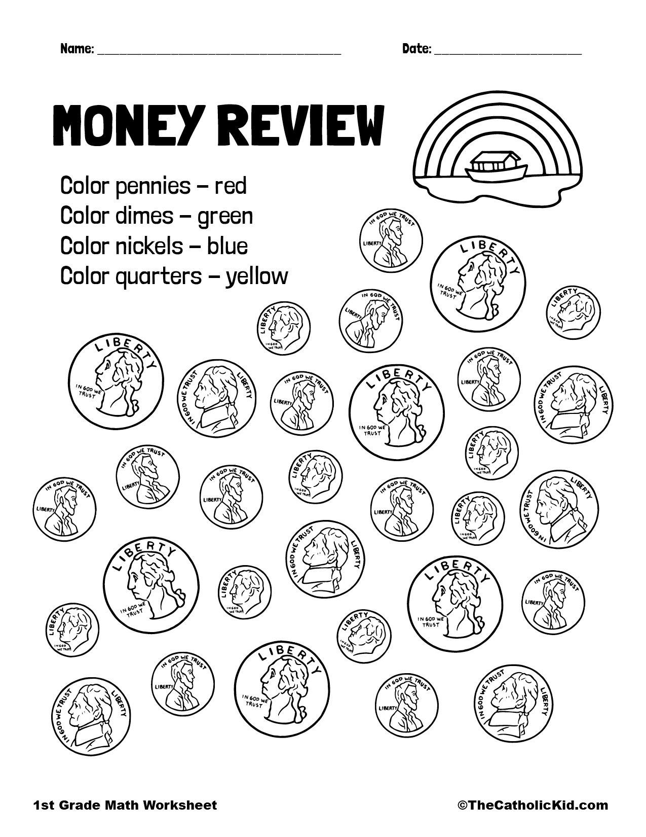 1st Grade Math Catholic Themed Worksheet Money Review