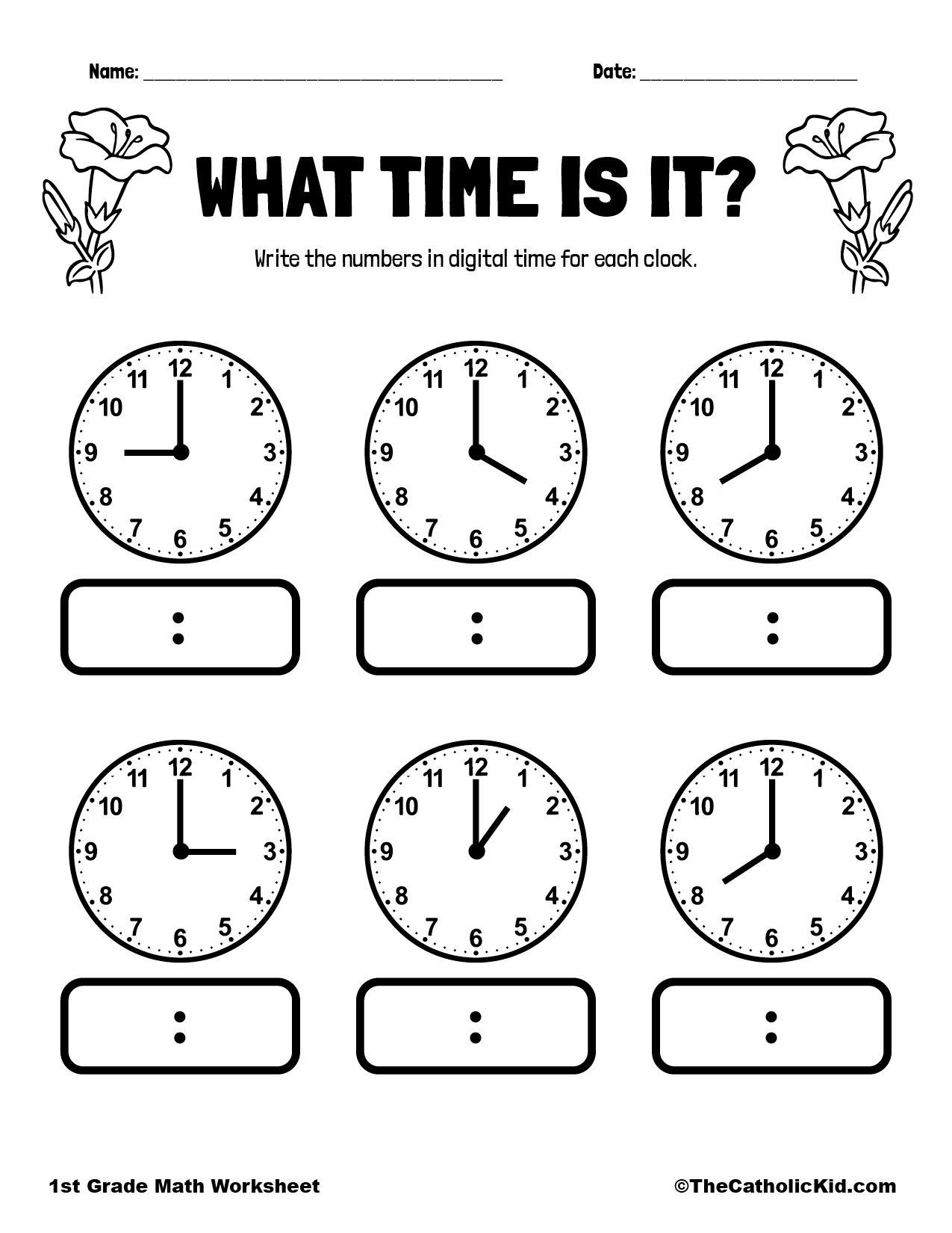 1st Grade Math Catholic Themed Worksheet Time