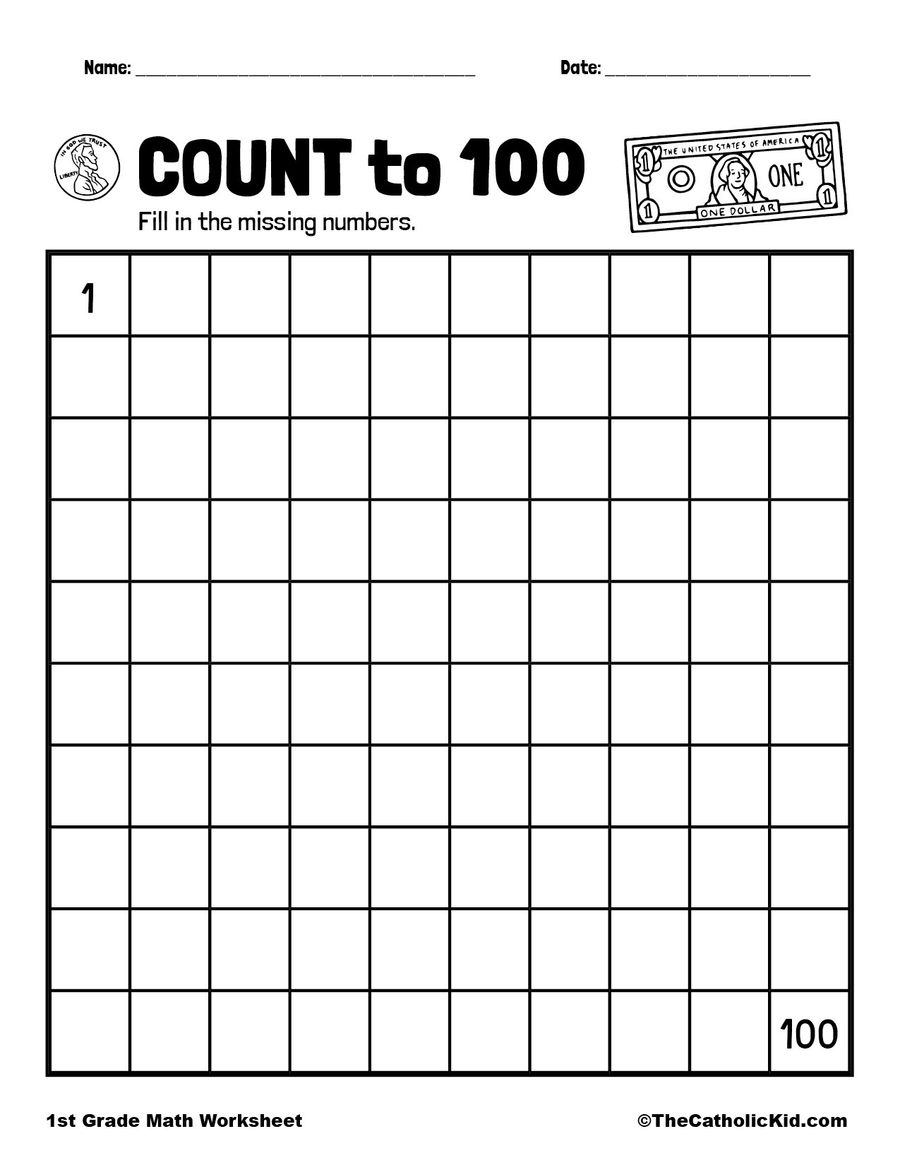 1st Grade Math Catholic Themed Worksheet Count to 100