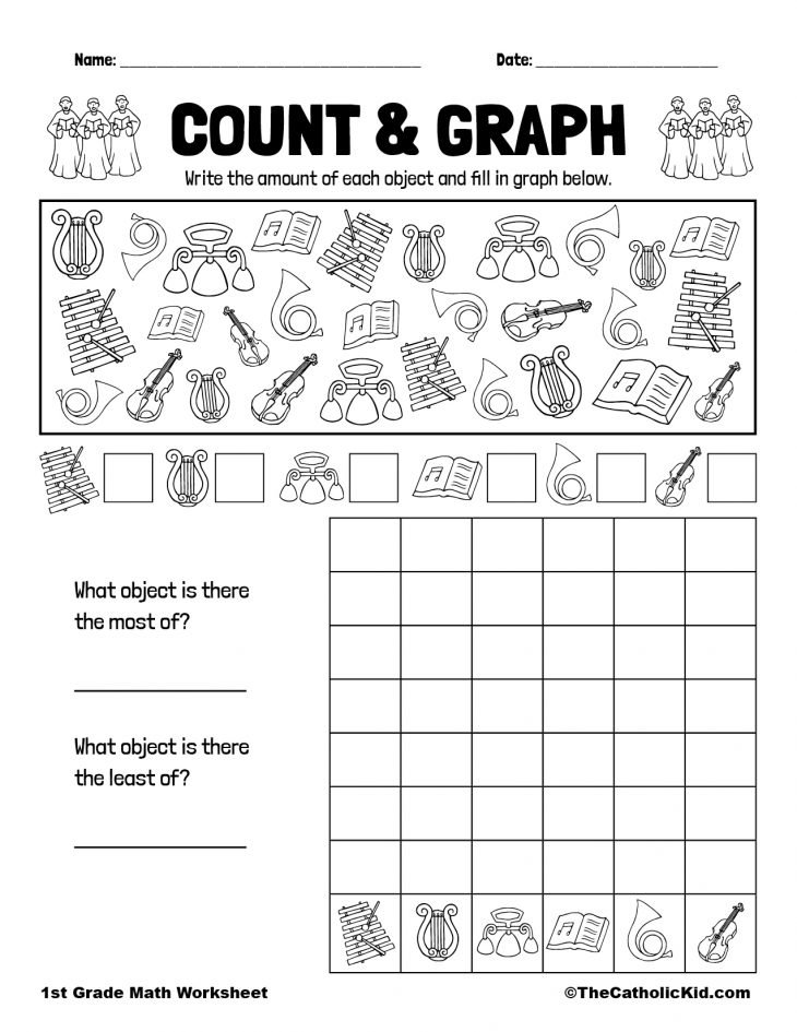 1st Grade Math Catholic Themed Worksheet Graph & Count
