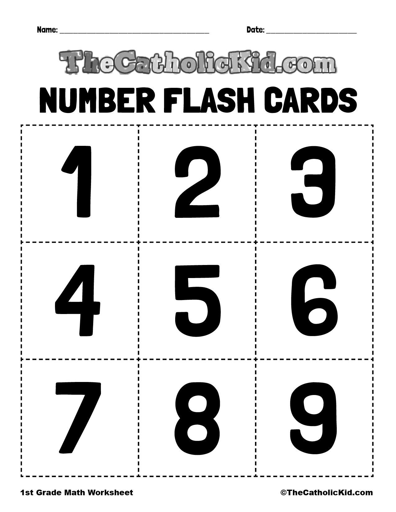 Number Flash Cards 1-9 - 1st Grade Math Worksheet Catholic