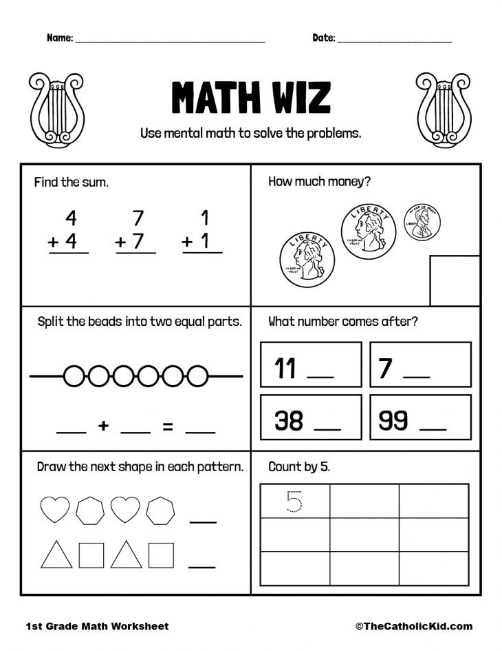 1st Grade Math Catholic Themed Worksheet Review