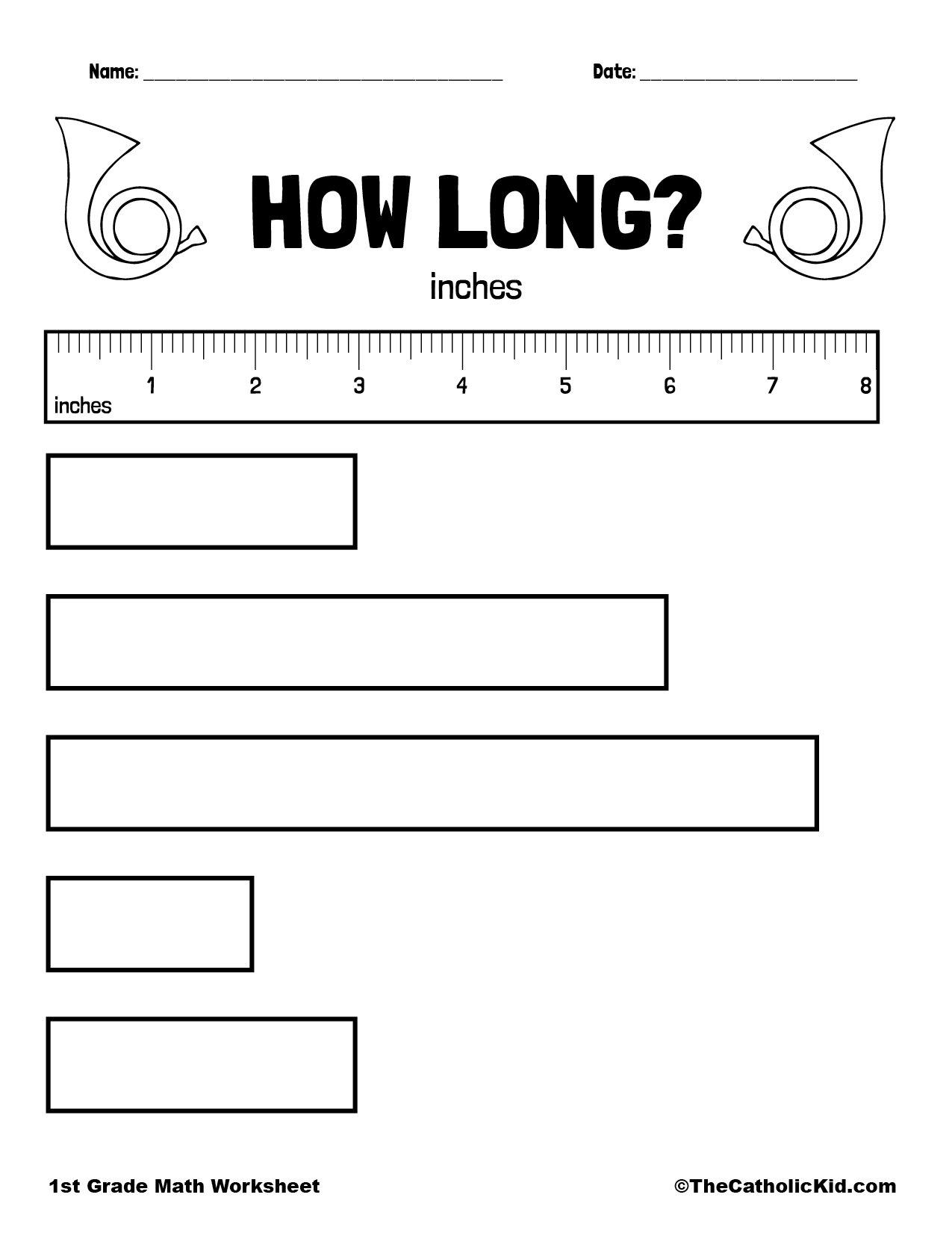 1st Grade Math Catholic Themed Worksheet Measure