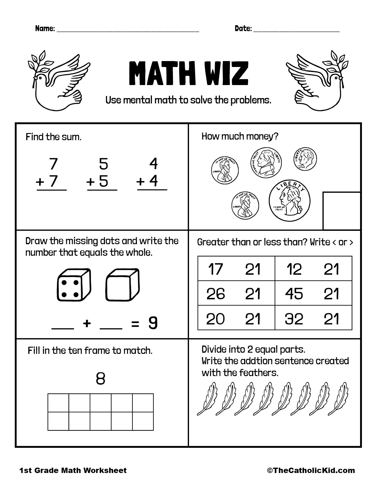 1st Grade Math Catholic Themed Worksheet Review