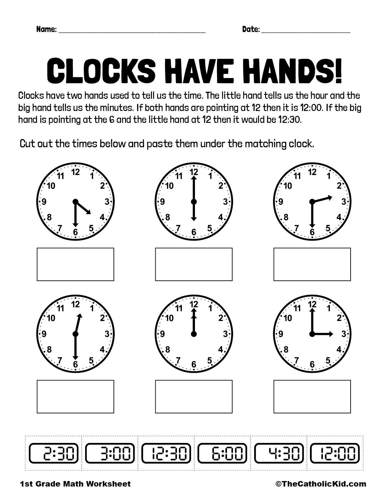 1st Grade Math Catholic Themed Worksheet Clocks