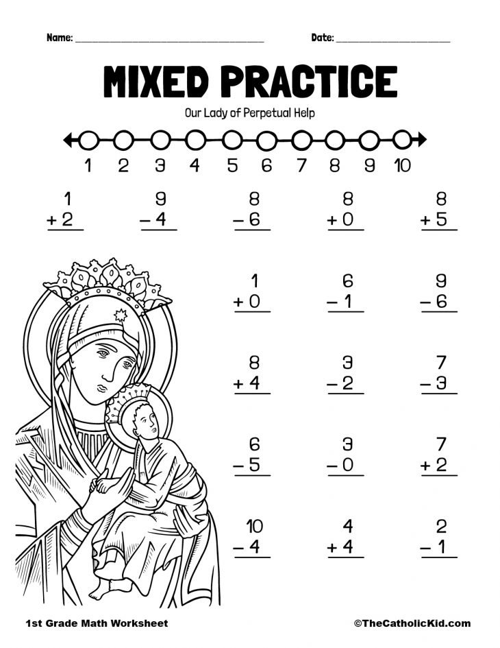 1st Grade Math Catholic Themed Worksheet Mental Math