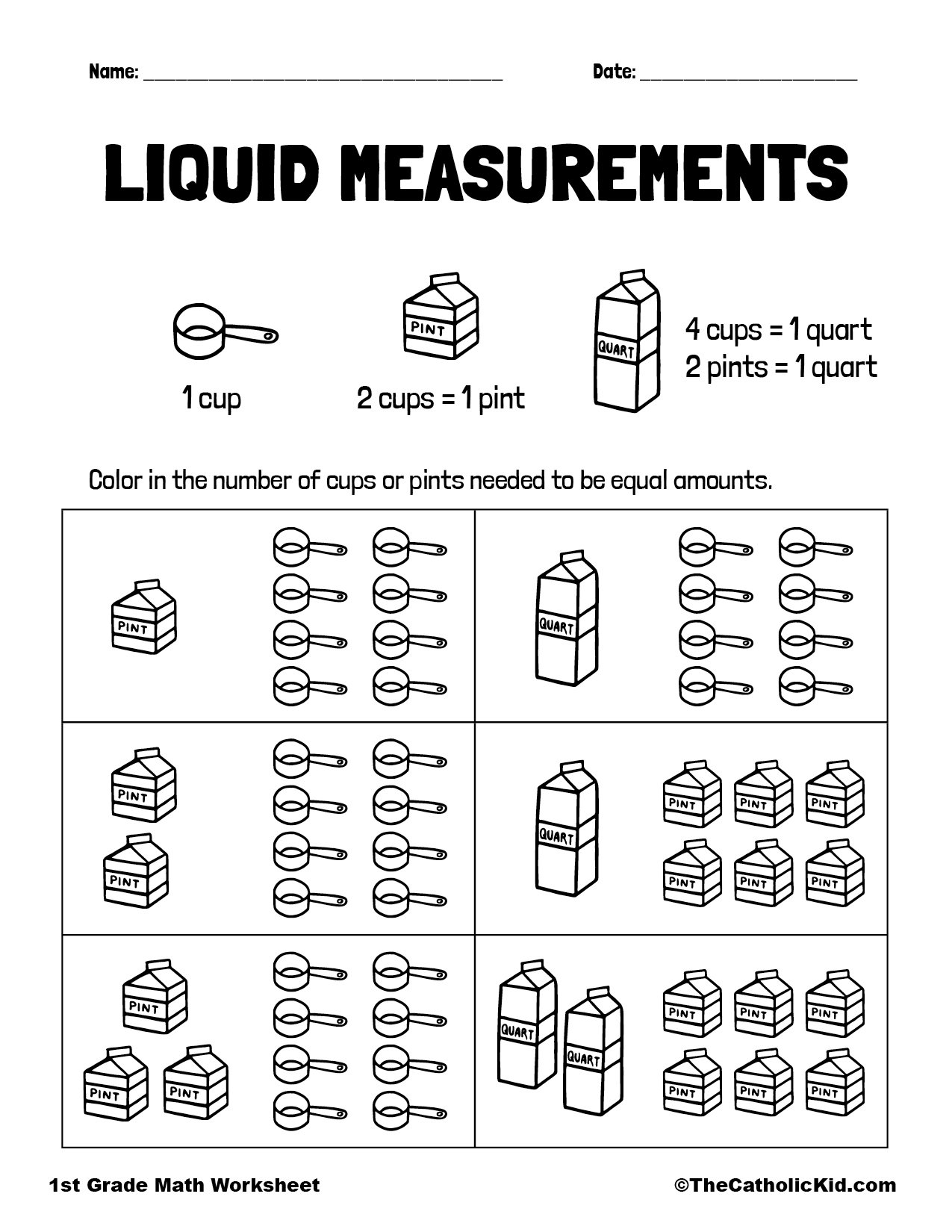 1st Grade Math Catholic Themed Worksheet Measuring Liquids