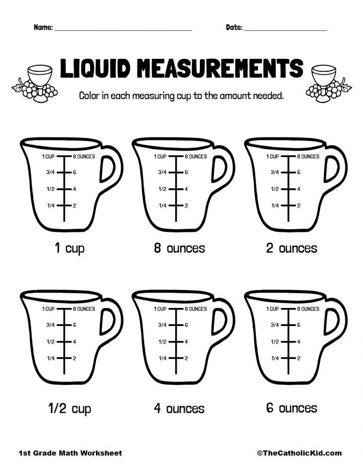 1st Grade Math Catholic Themed Worksheet Liquid Measure