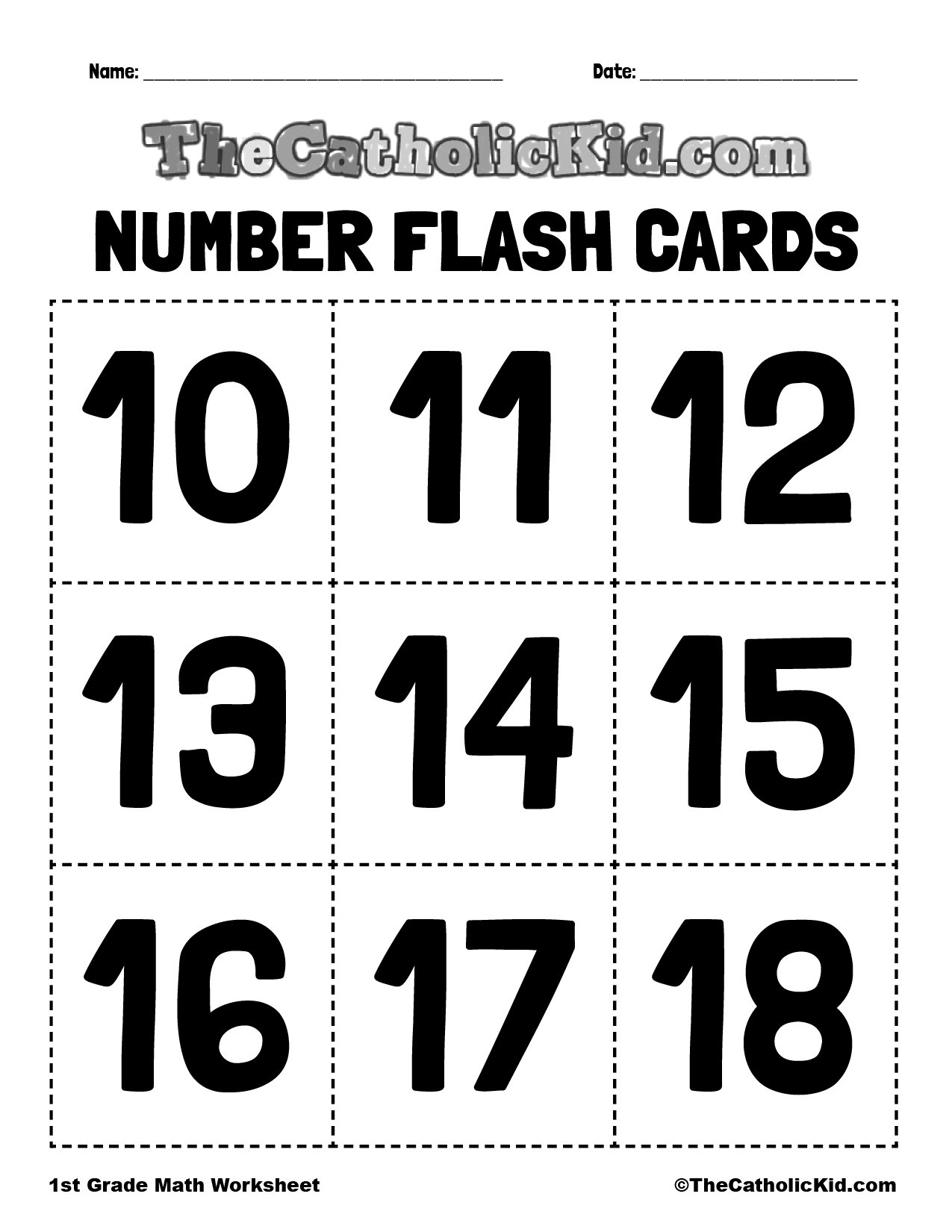 Number Flash Cards 10-18 - 1st Grade Math Worksheet Catholic