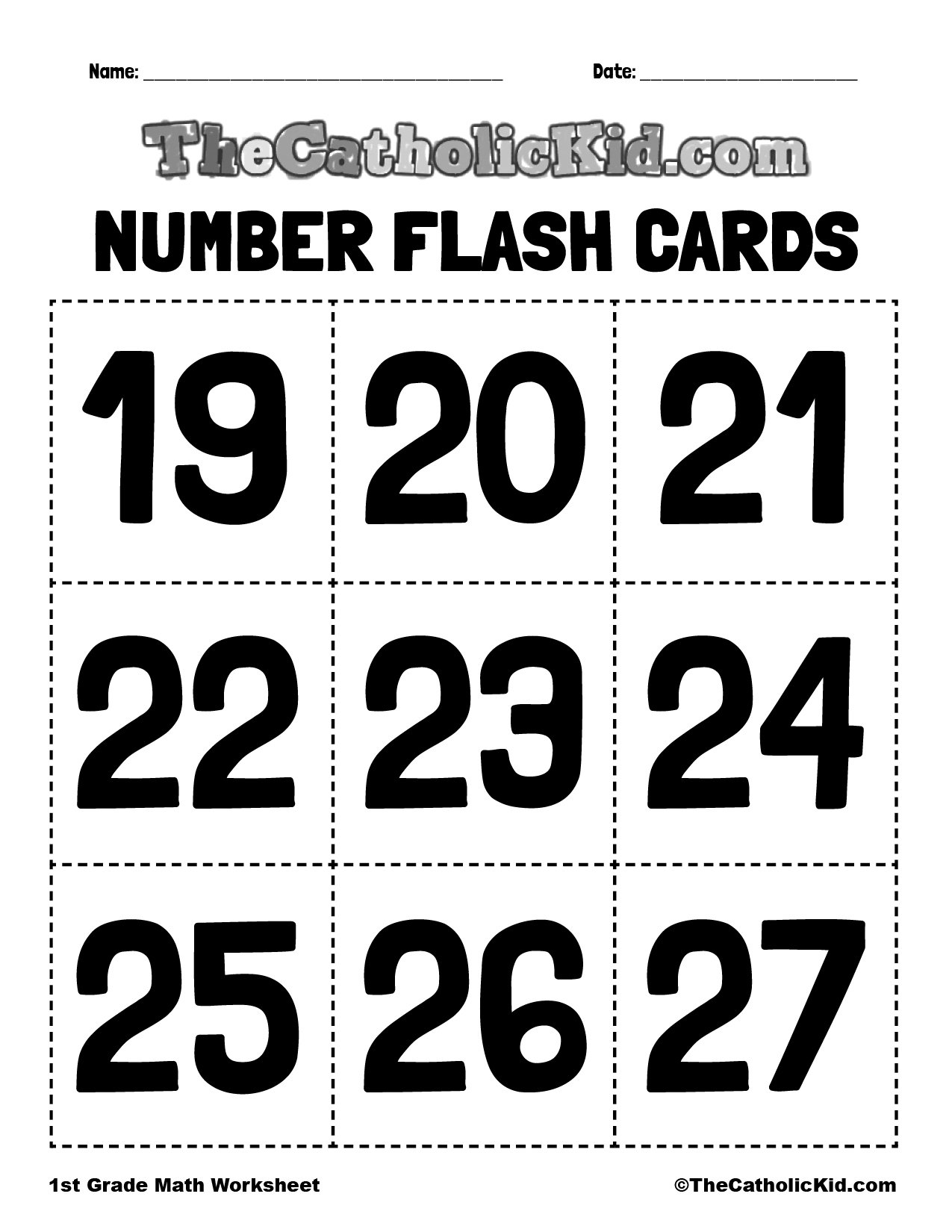 Number Flash Cards 19-27 - 1st Grade Math Worksheet Catholic