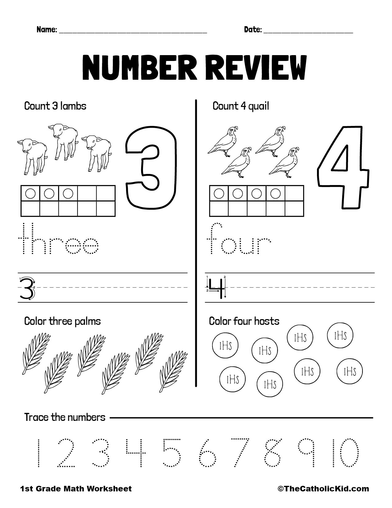 Counting Review Numbers 3 and 4 - 1st Grade Math Worksheet Catholic