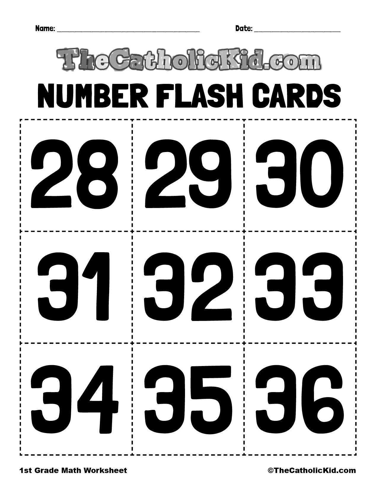Number Flash Cards 28-36 - 1st Grade Math Worksheet Catholic