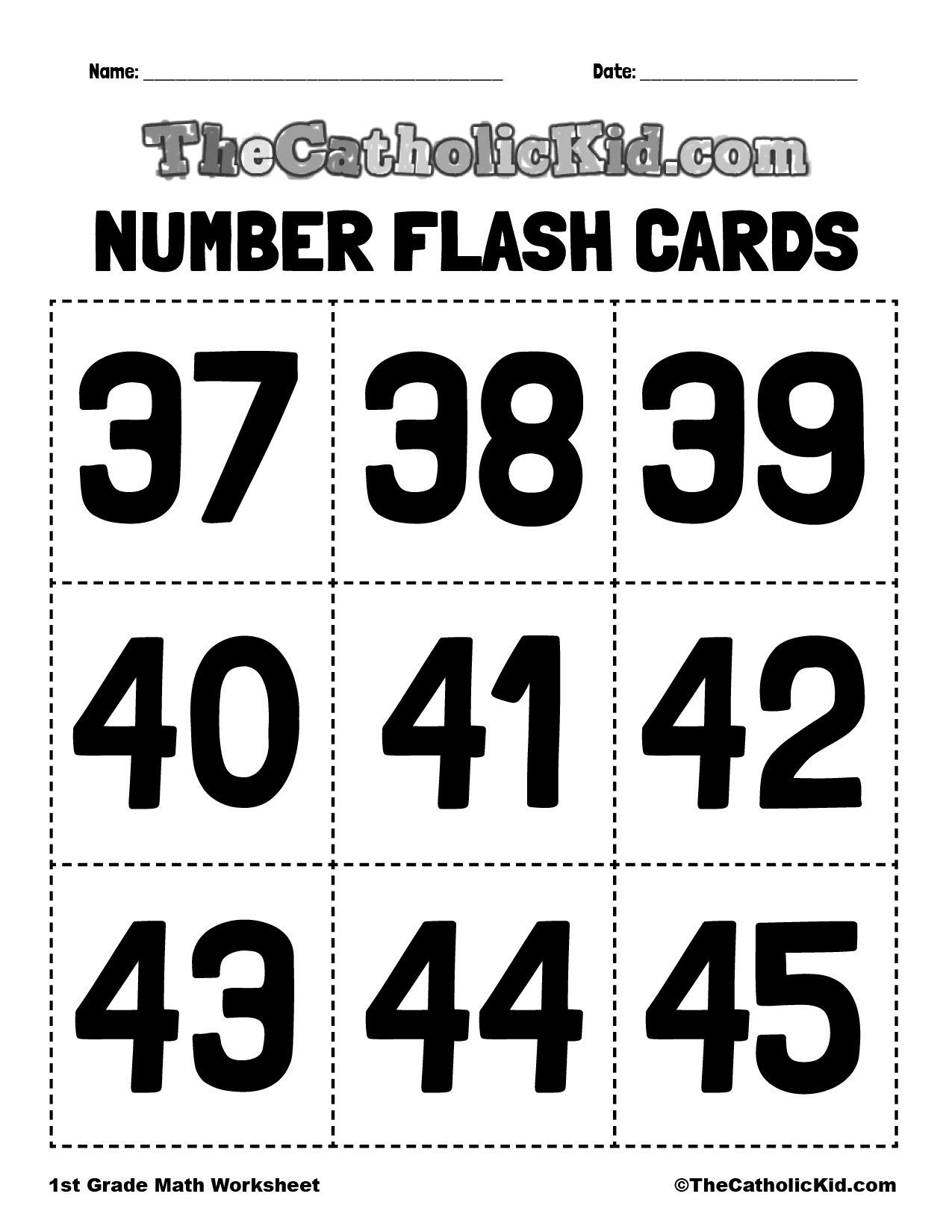 Number Flash Cards 37-45 - 1st Grade Math Worksheet Catholic