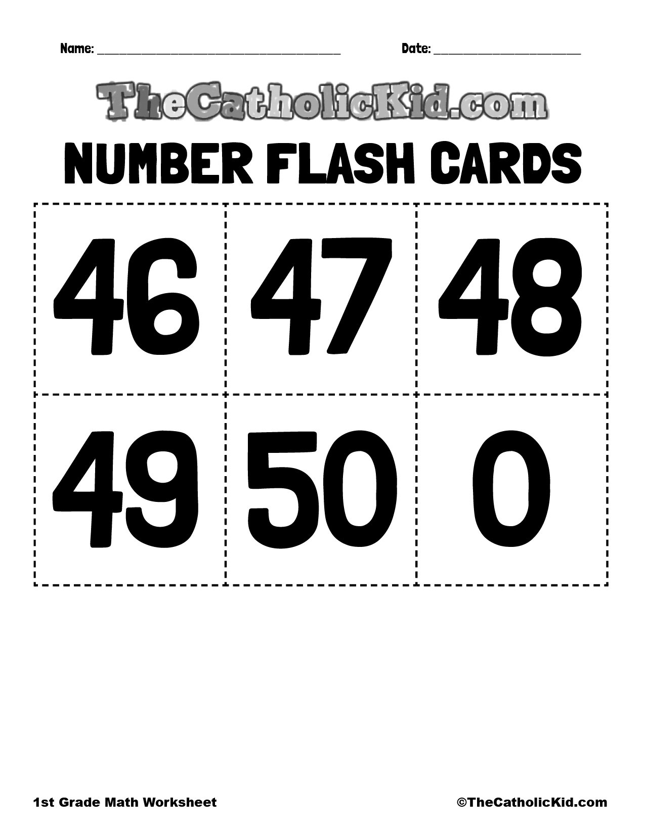 Number Flash Cards 46-50 - 1st Grade Math Worksheet Catholic