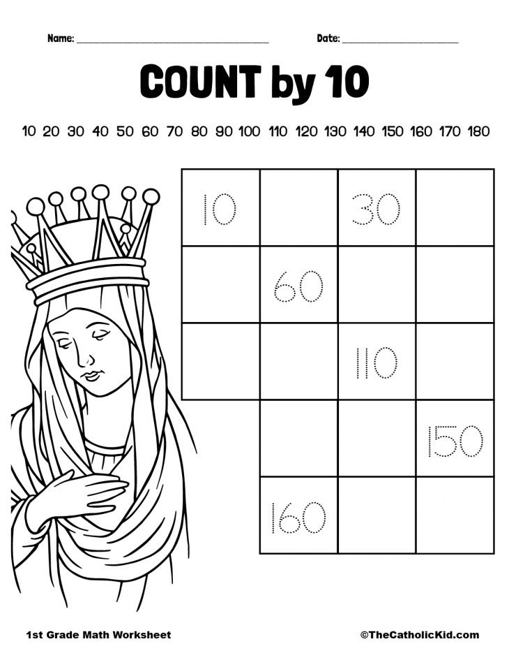 Count by 10 - 1st Grade Math Worksheet Catholic