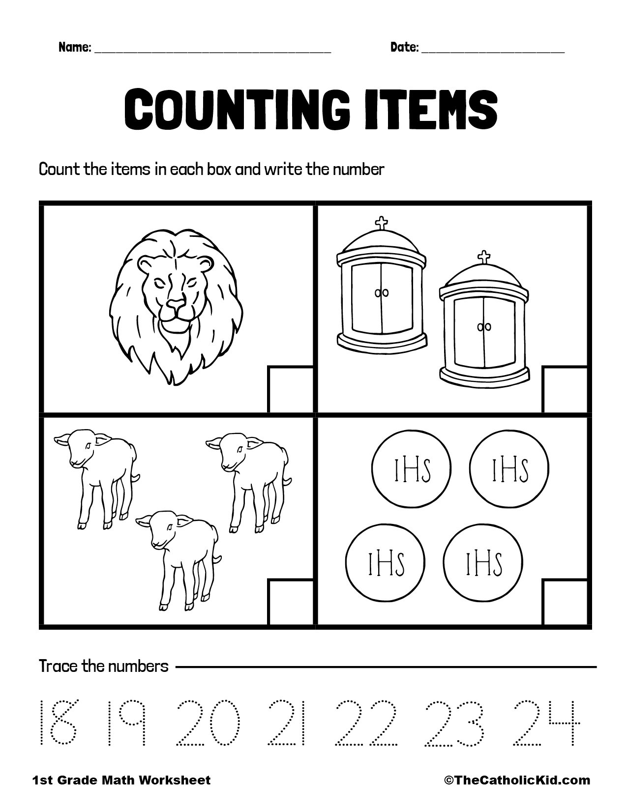 Counting Review - 1st Grade Math Worksheet Catholic