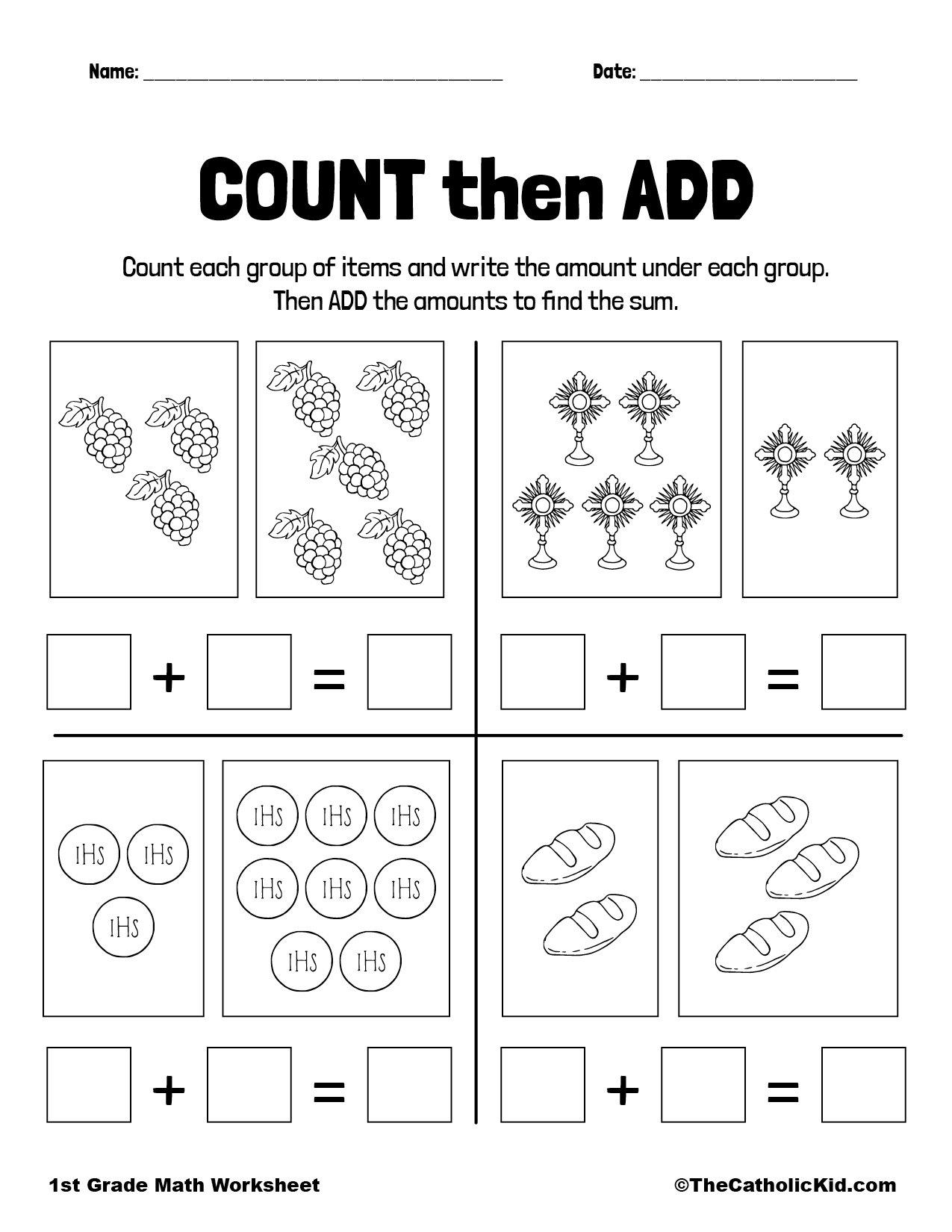 Counting and Adding - 1st Grade Math Worksheet Catholic