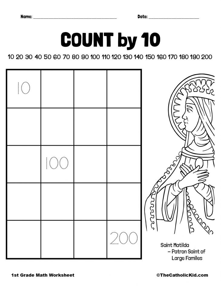 Count By 10 - 1st Grade Math Counting Worksheet Catholic