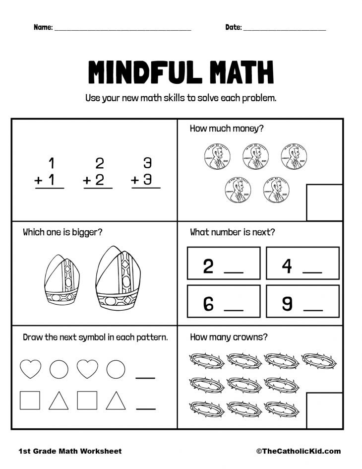 Math Printout - 1st Grade Math Worksheet Catholic
