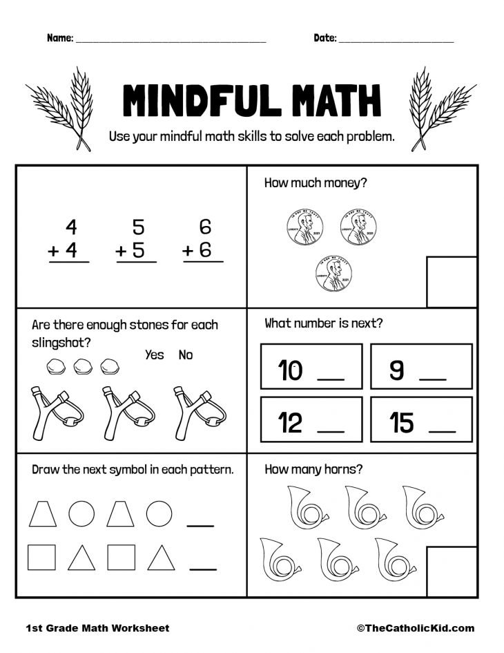 Mental Math Practice - 1st Grade Math Worksheet Catholic