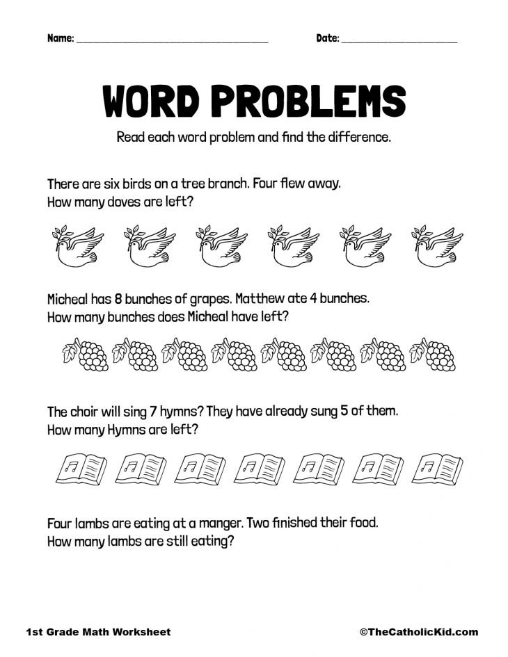 Math Word Problems - 1st Grade Math Worksheet Catholic