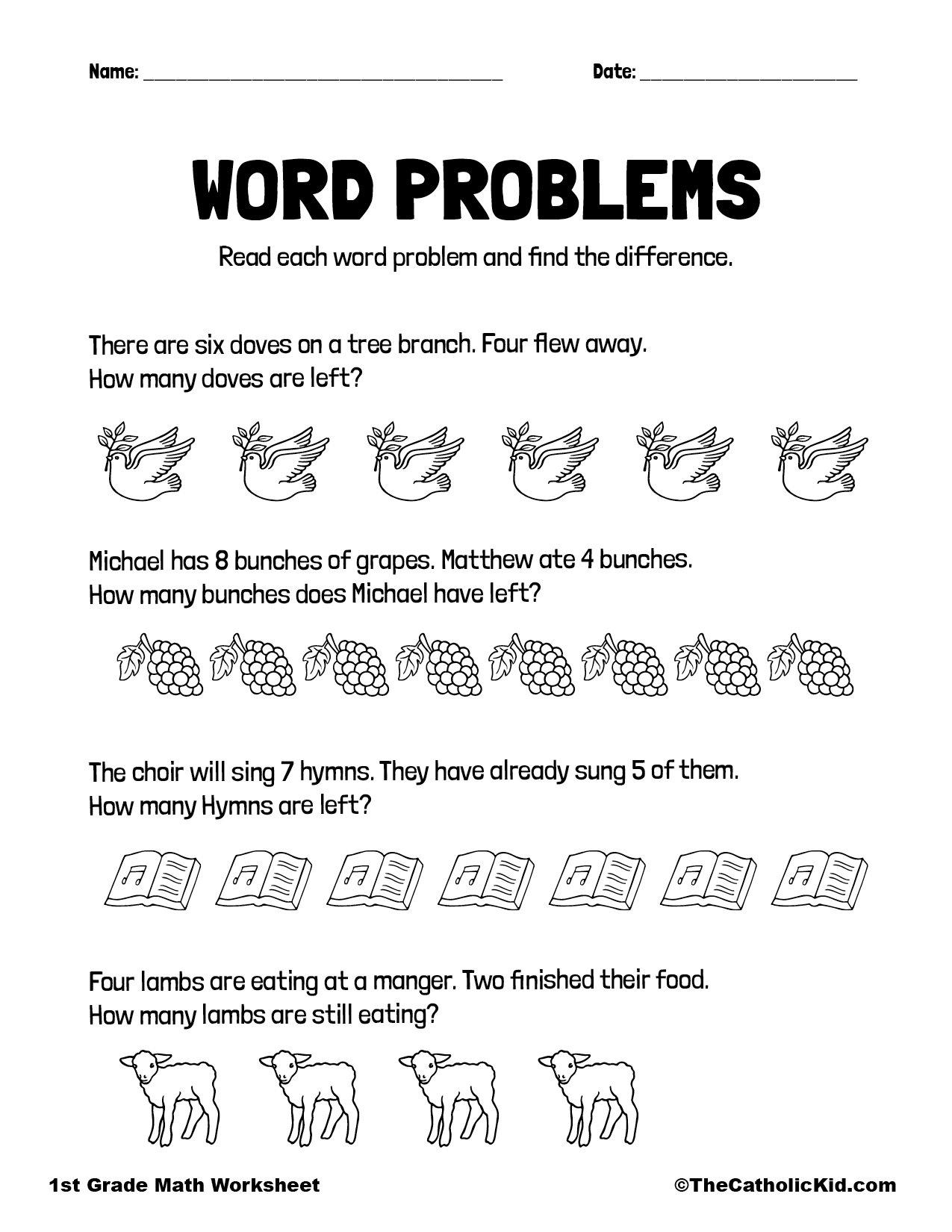 Math Word Problems - 1st Grade Math Worksheet Catholic