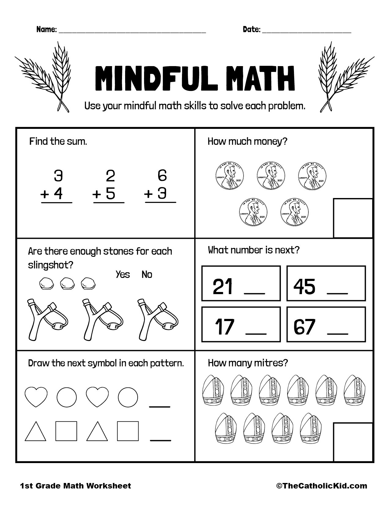 Mental Math Skills - 1st Grade Math Worksheet Catholic